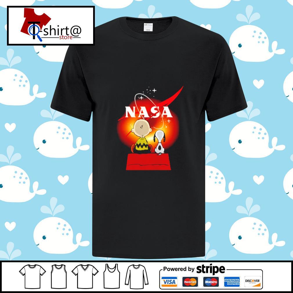 Snoopy And Charlie Brown Looking Black Hole Nasa Shirt