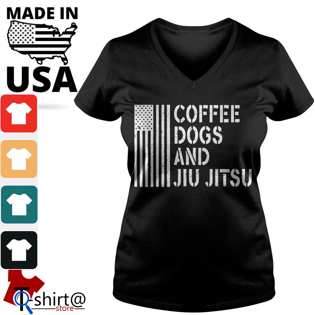 American flag coffee dogs and jiu jitsu V-neck t-shirt