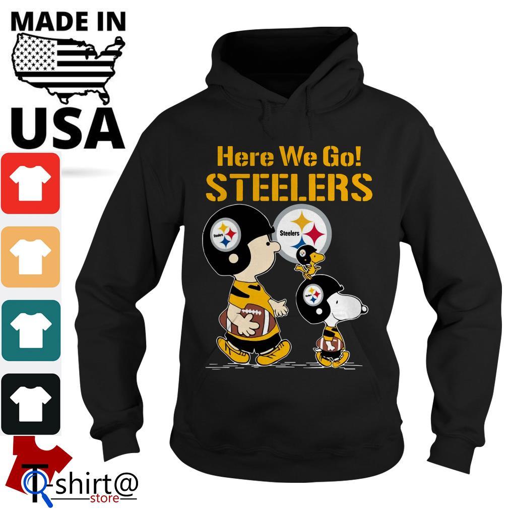 Charlie Brown and Snoopy here we go Steelers Hoodie