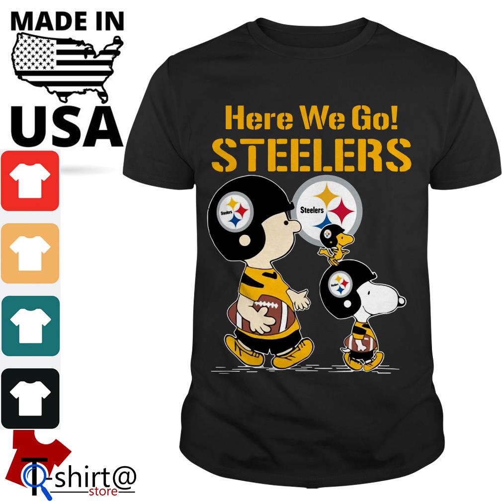 Charlie Brown and Snoopy here we go Steelers shirt