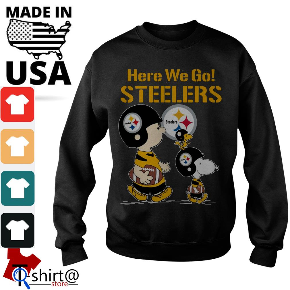 Charlie Brown and Snoopy here we go Steelers Sweater
