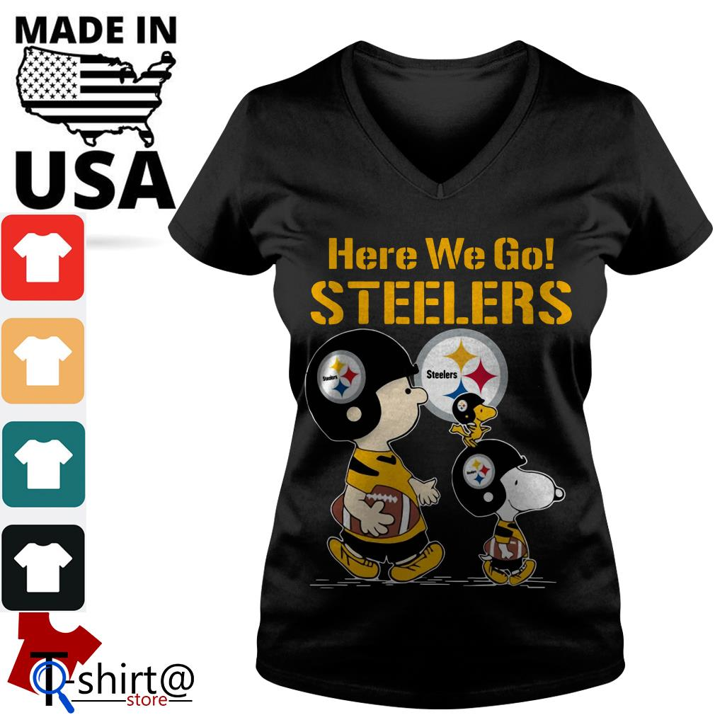 Charlie Brown and Snoopy here we go Steelers V-neck t-shirt