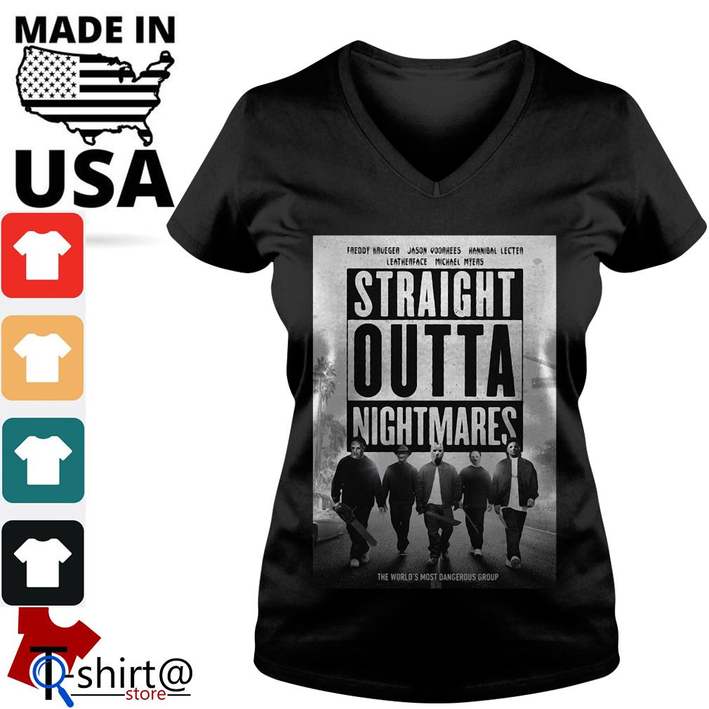 Freddy Krueger Jason Voorhees Leatherface Hannibal Lecter Michael Myers Straight Outta Nightmares V-neck t-shirt