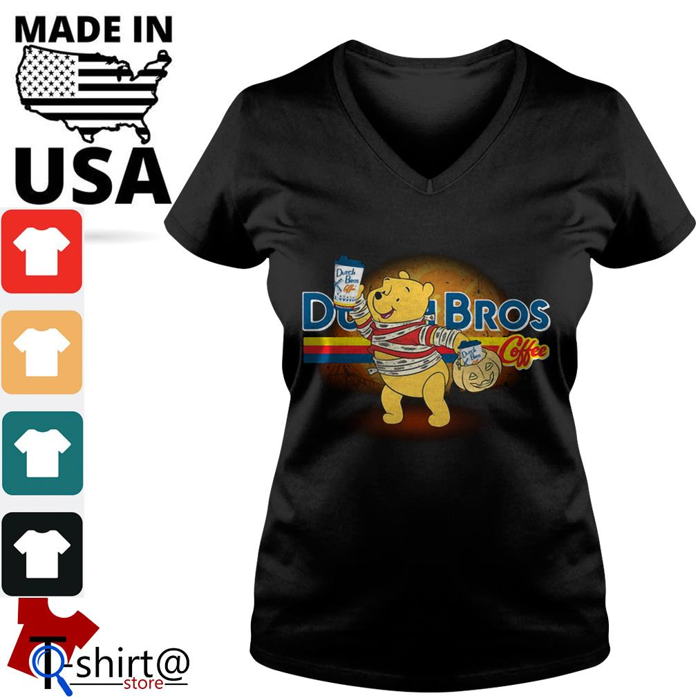Halloween Dutch Bros Coffee Winnie The Pooh version V-neck t-shirt