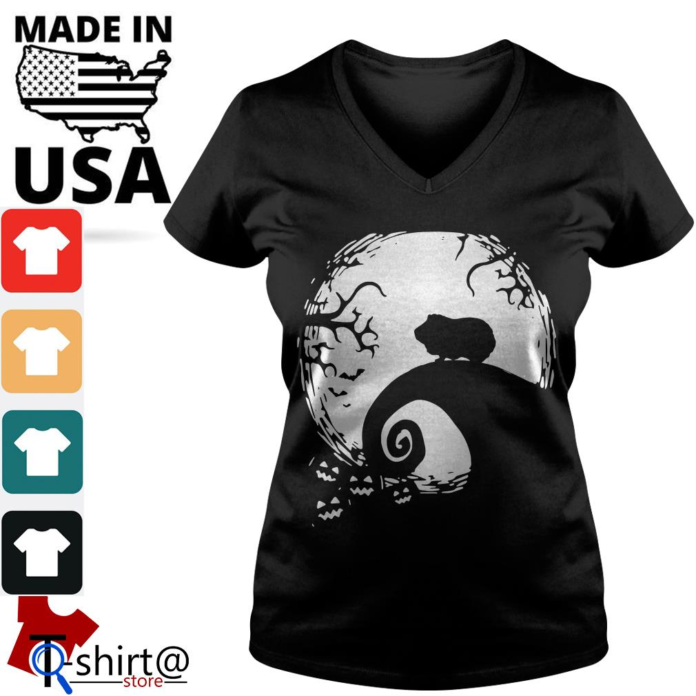 Halloween Guinea pig and moon V-neck t-shirt