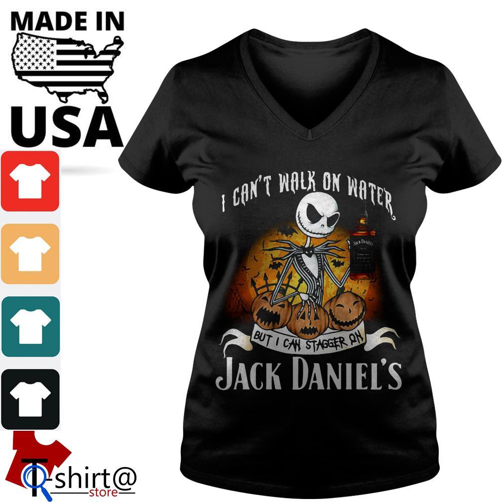 Halloween Jack Skellington I can't walk on water but I can stagger on Jack Daniel's V-neck t-shirt