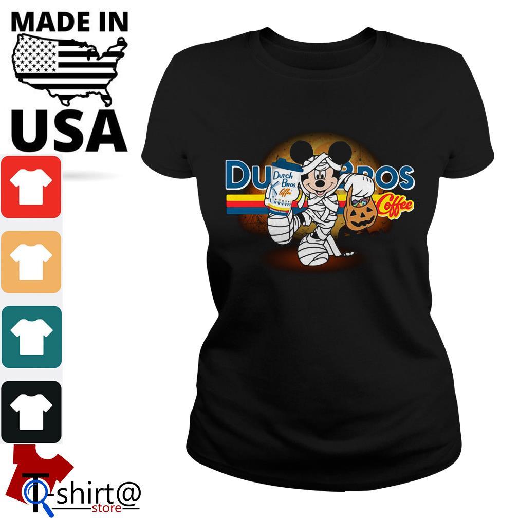 Halloween Mickey Mouse Wears Mummy Dutch Bros Coffee Ladies tee
