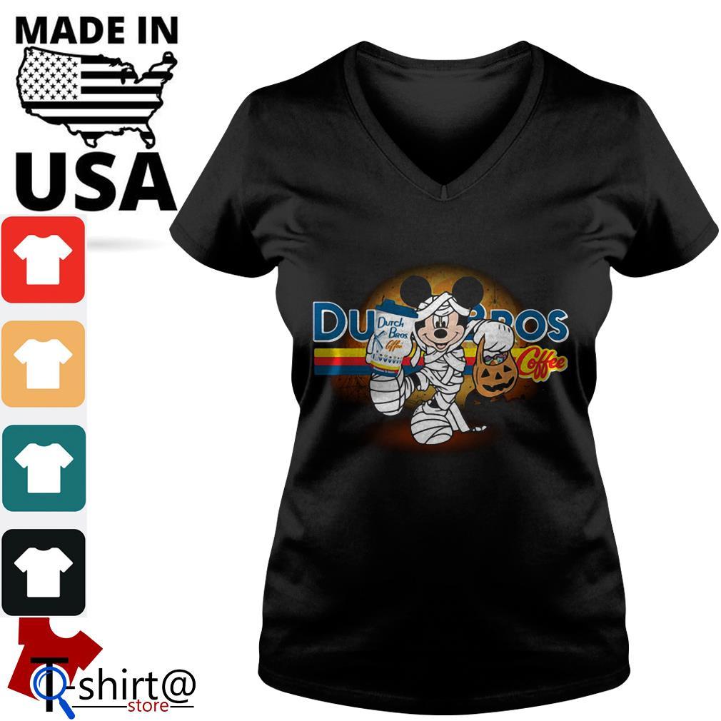 Halloween Mickey Mouse Wears Mummy Dutch Bros Coffee V-neck t-shirt
