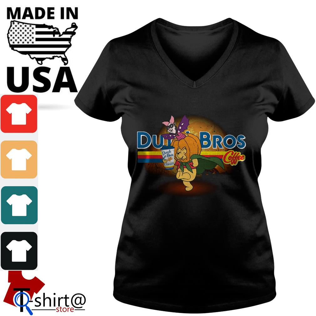 Halloween Piglet and Winnie The Pooh Dutch Bros Coffee V-neck t-shirt