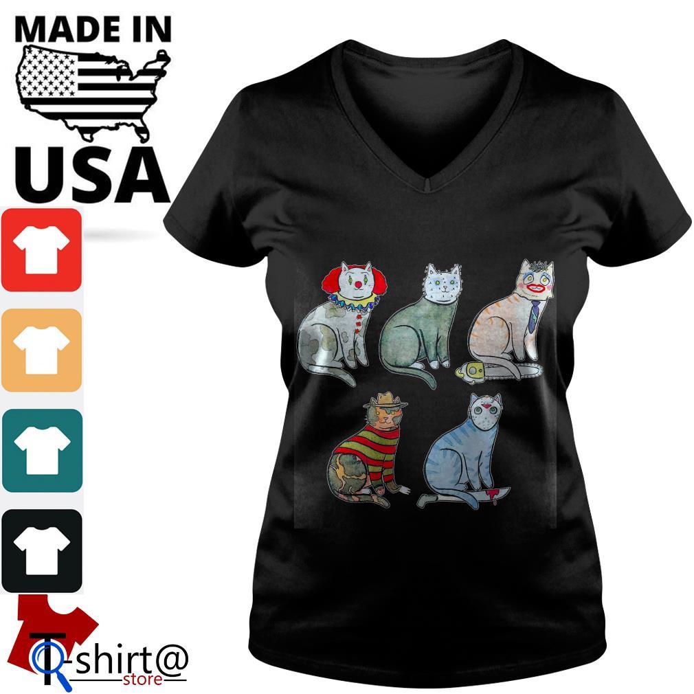 Horror Character Cat V-neck t-shirt