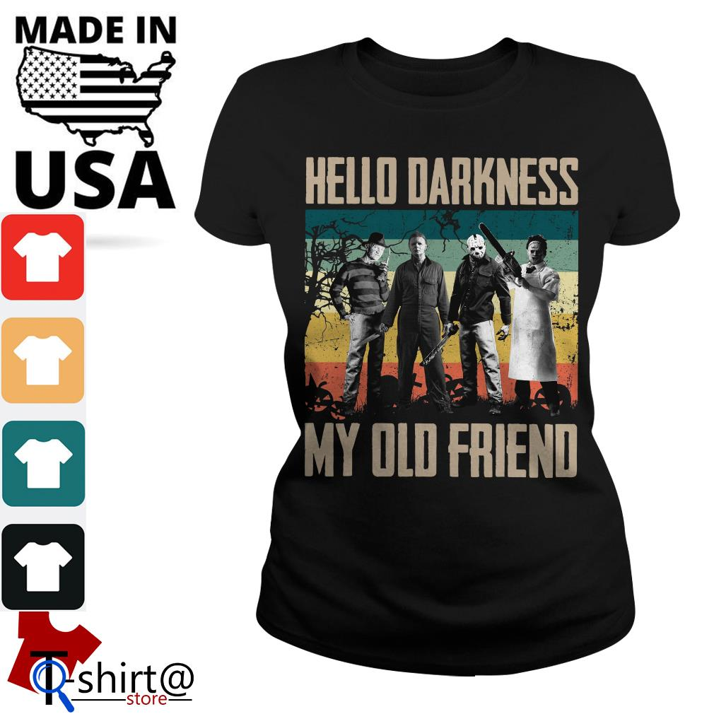 Horror characters hello darkness my old friend vintage Ladies tee