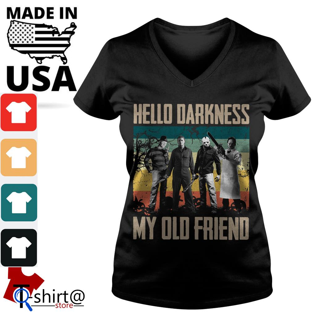 Horror characters hello darkness my old friend vintage V-neck t-shirt