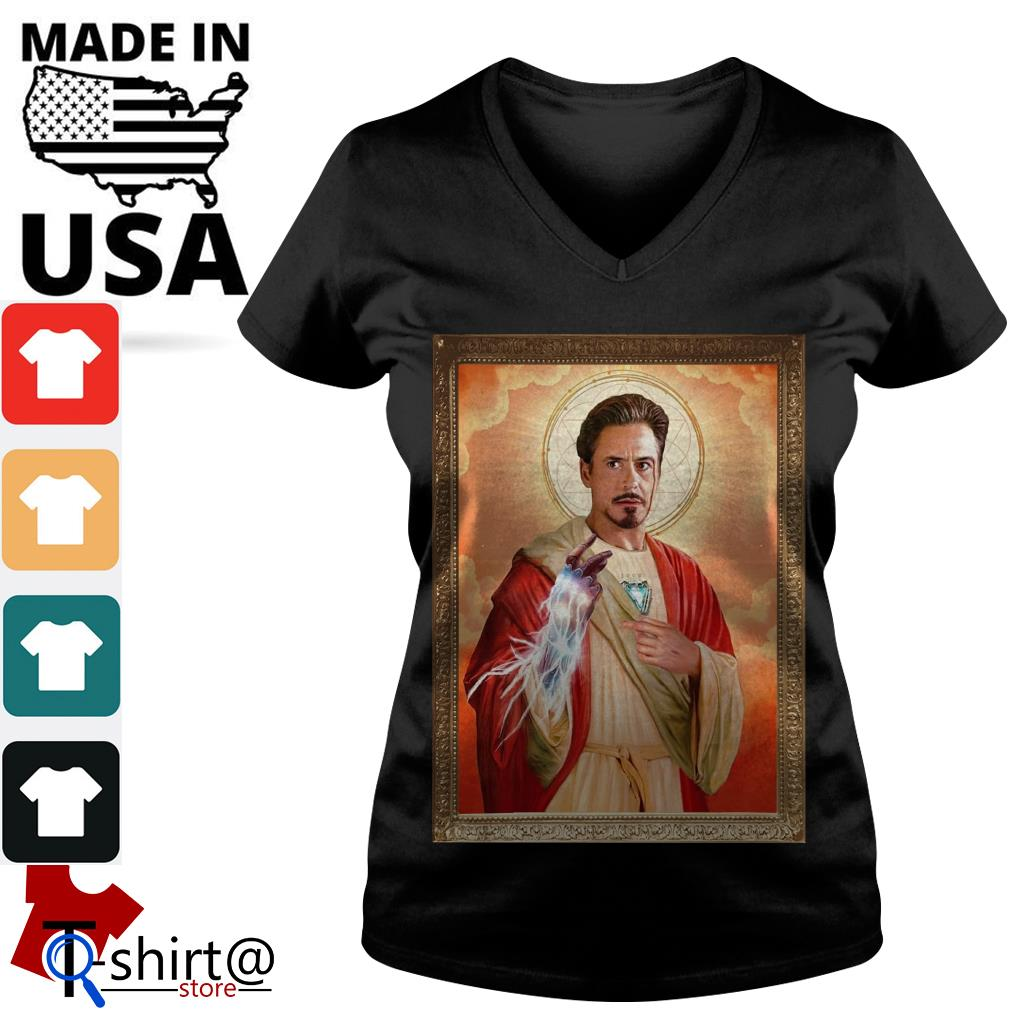 Iron Man Patron Saint of Puppies V-neck t-shirt