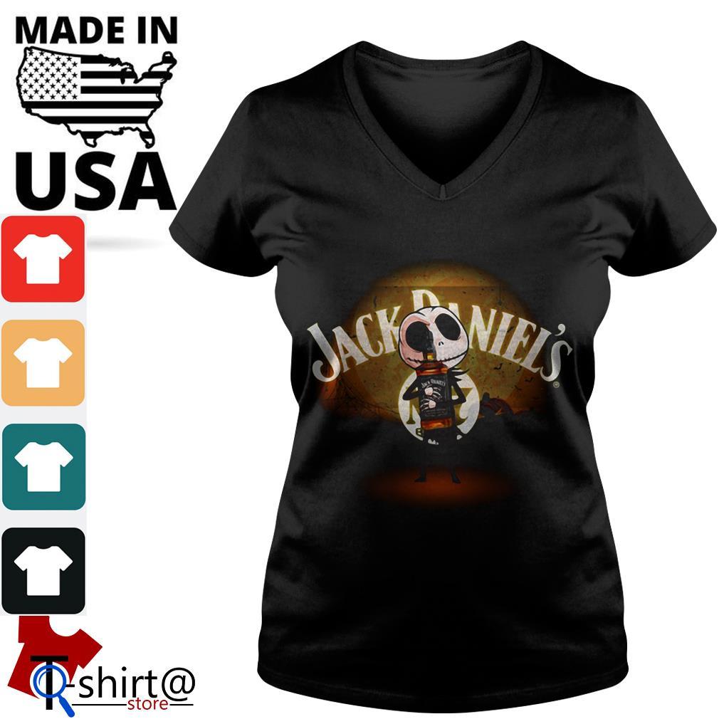 Jack Skellington hug Jack Daniel's Halloween V-neck t-shirt