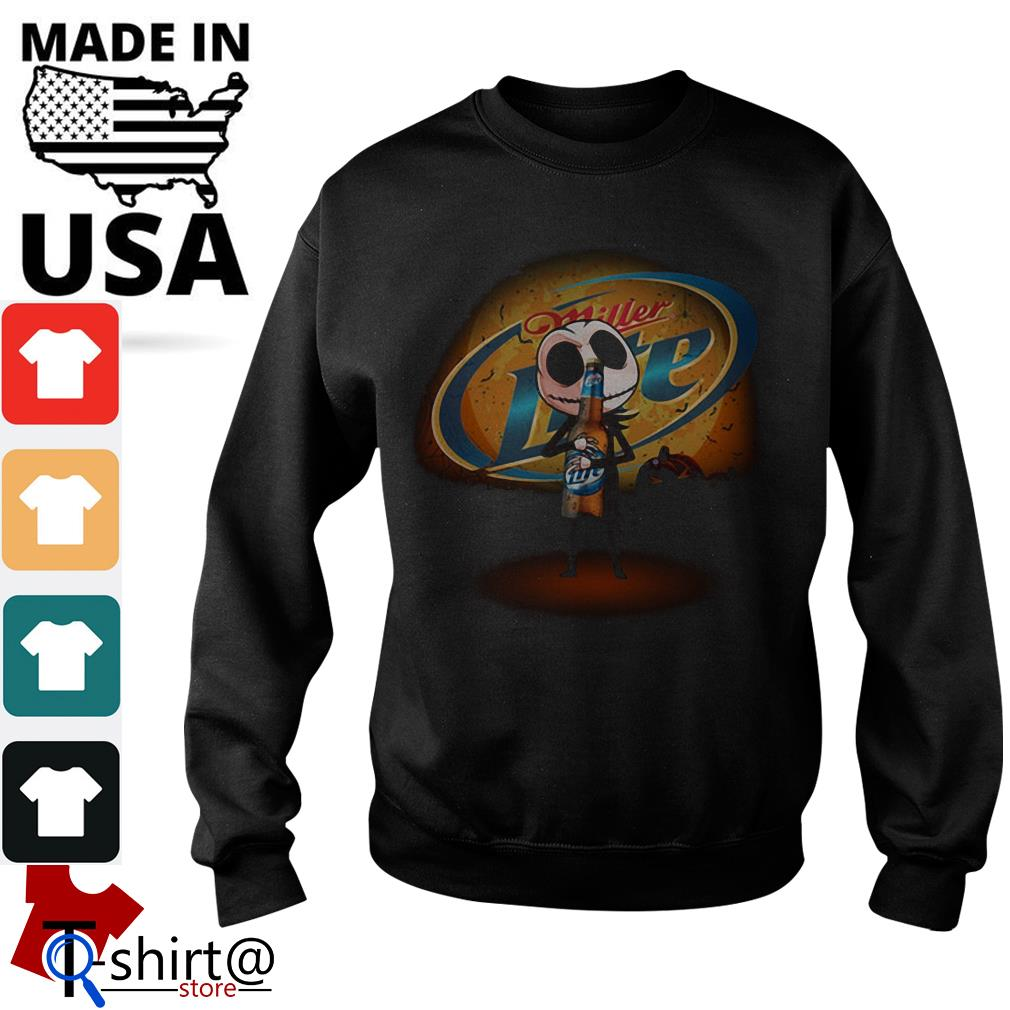 Jack Skellington hug Miller Lite Halloween Sweater
