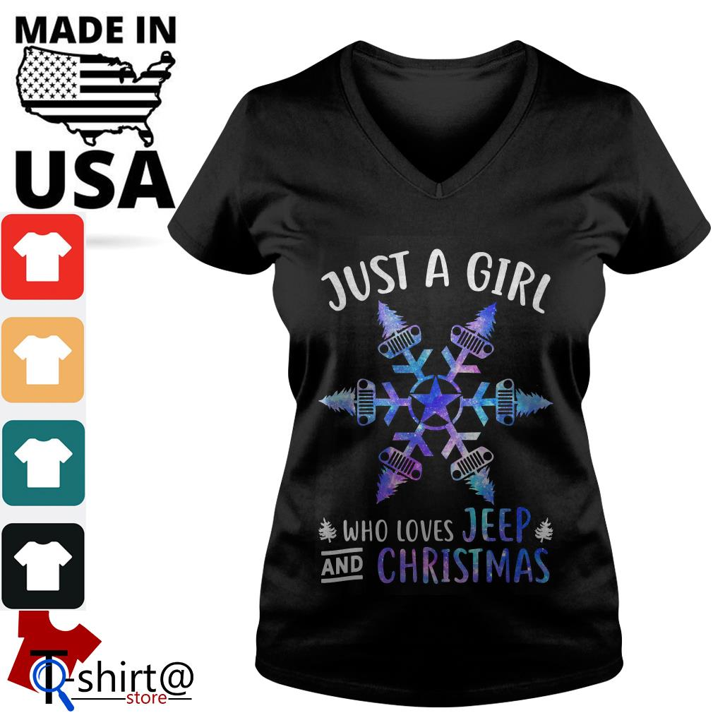 Just a Girl Snowflake Flower loves Jeep and Christmas V-neck t-shirt