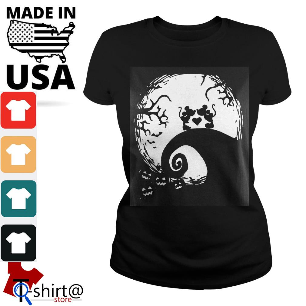 Mickey mouse and Minnie mouse in the midnight moon Halloween Ladies tee