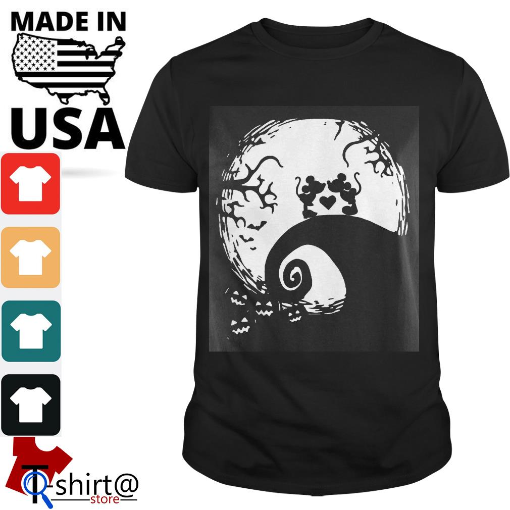 Mickey mouse and Minnie mouse in the midnight moon Halloween shirt