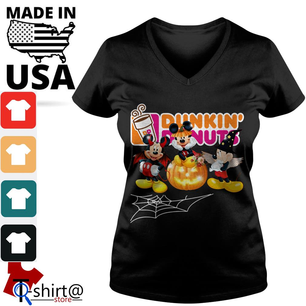 Mouse Mickey Dunkin' Donuts Halloween V-neck t-shirt