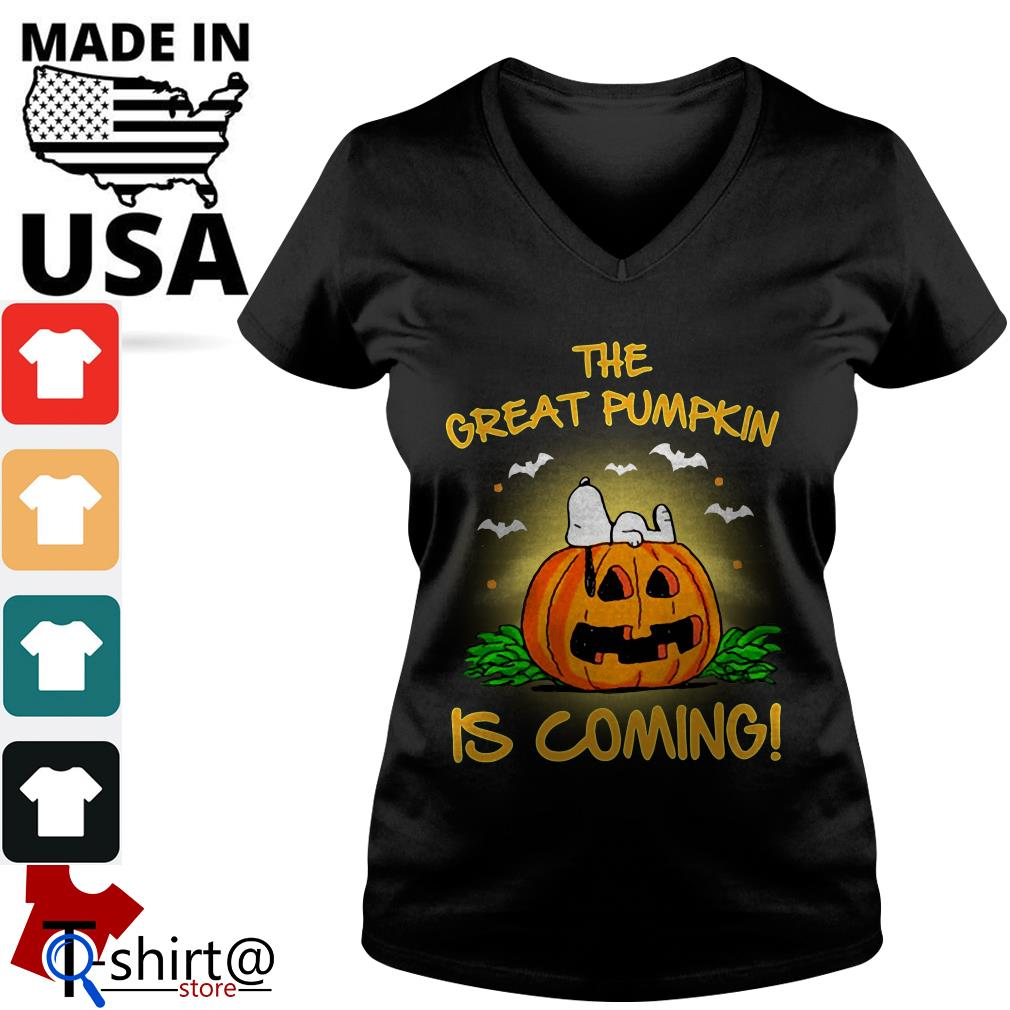 The Great Pumpkin is coming V-neck t-shirt