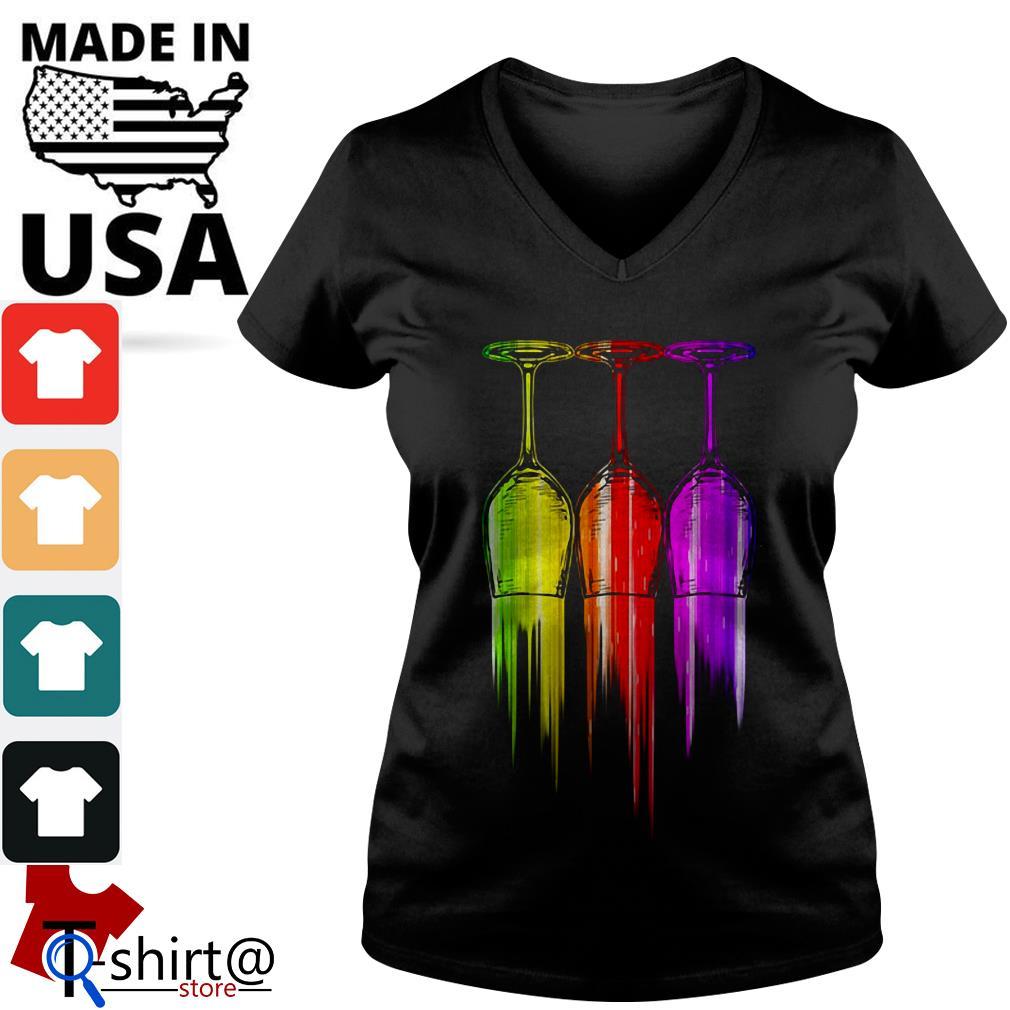 Three wine color Halloween V-neck t-shirt