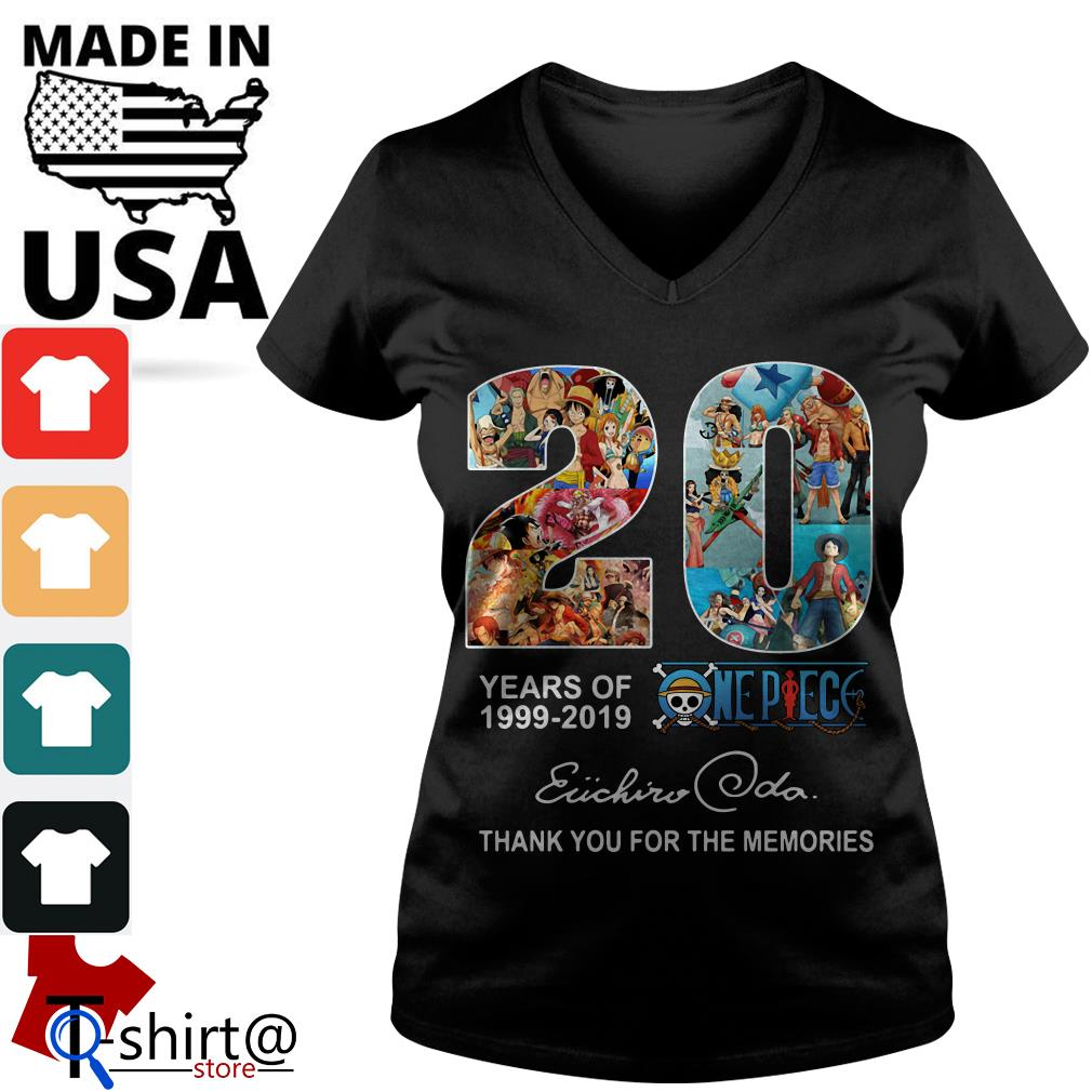 20 years of One Piece 1999 – 2019 thank you for the memories Oda Eiichiro V-neck t-shirt