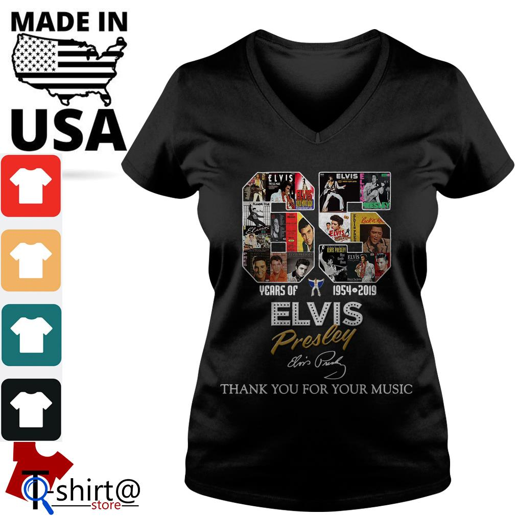 65 Years of Elvis Presley 1954 2019 Thank You for Your Music V-neck t-shirt