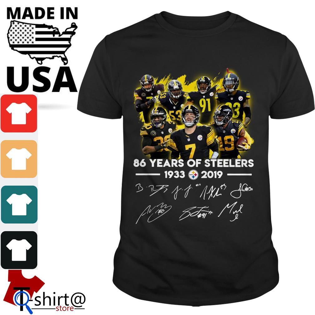 86 Years of Steelers 1933-2019 signatures shirt