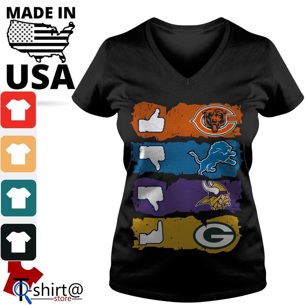 Chicago Bears Minnesota Vikings Detroit Lions and Green Bay Packers V-neck t-shirt