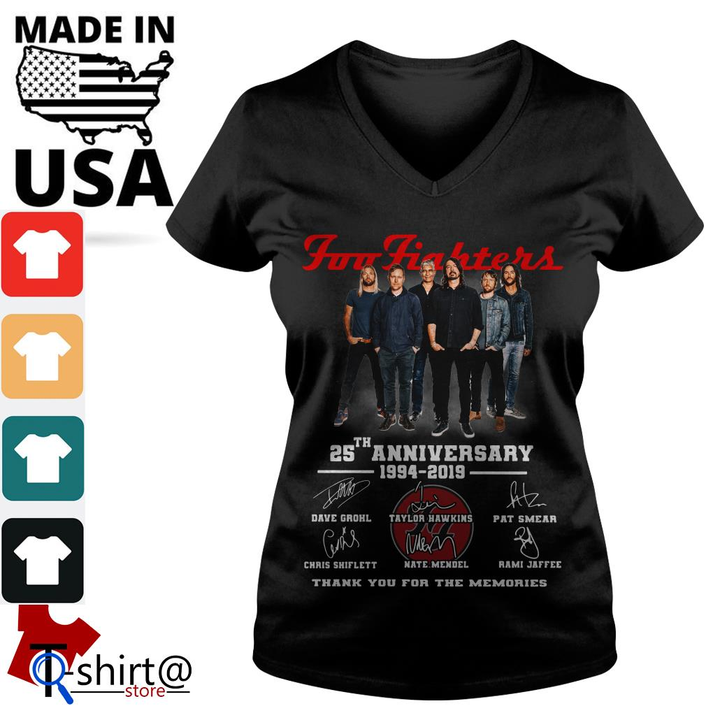 Foo Fighters 25th anniversary 1994-2019 thank you for the memories V-neck t-shirt