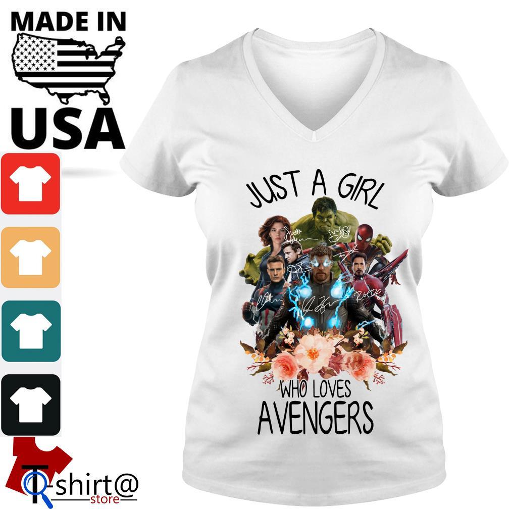 Just A Girl Who Loves Avengers V-neck t-shirt