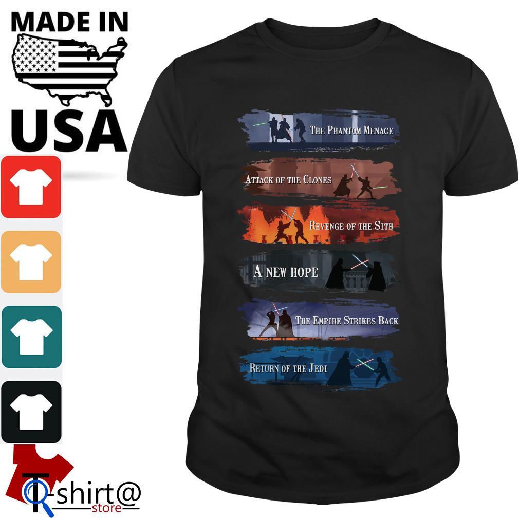 List of Star Wars Films the Phantom Menace Attack of the Clones shirt