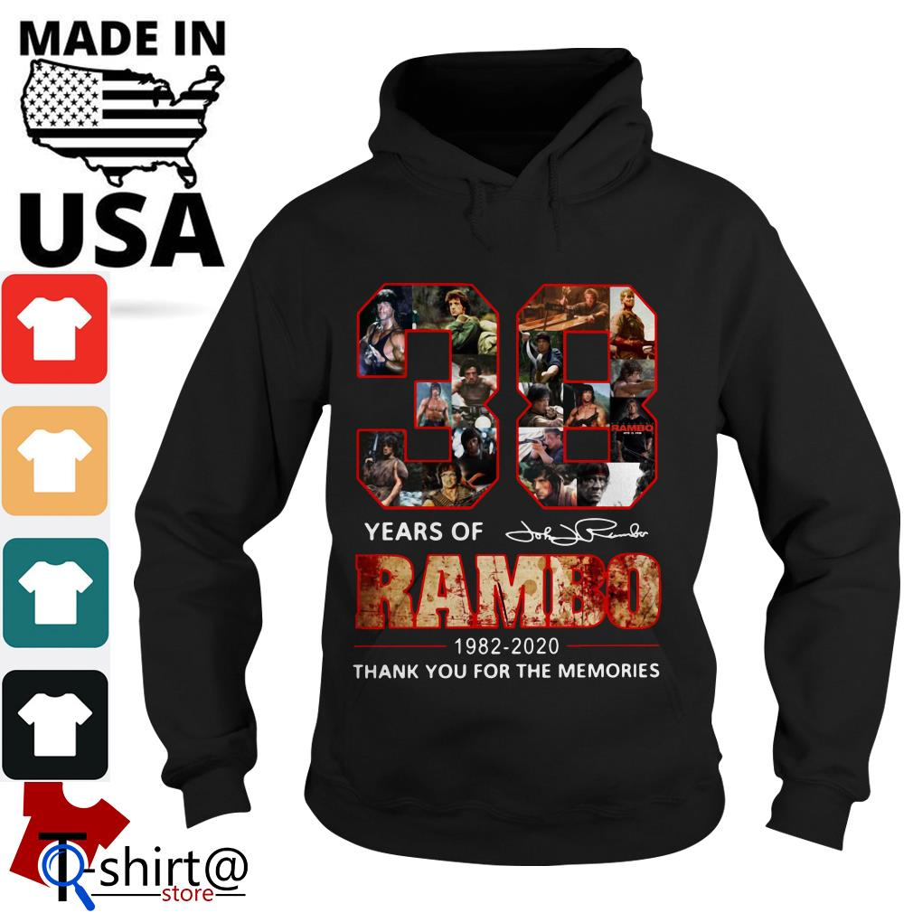 Rambo 38th Anniversary 1982-2020 Signature thank You for the Memories Hoodie