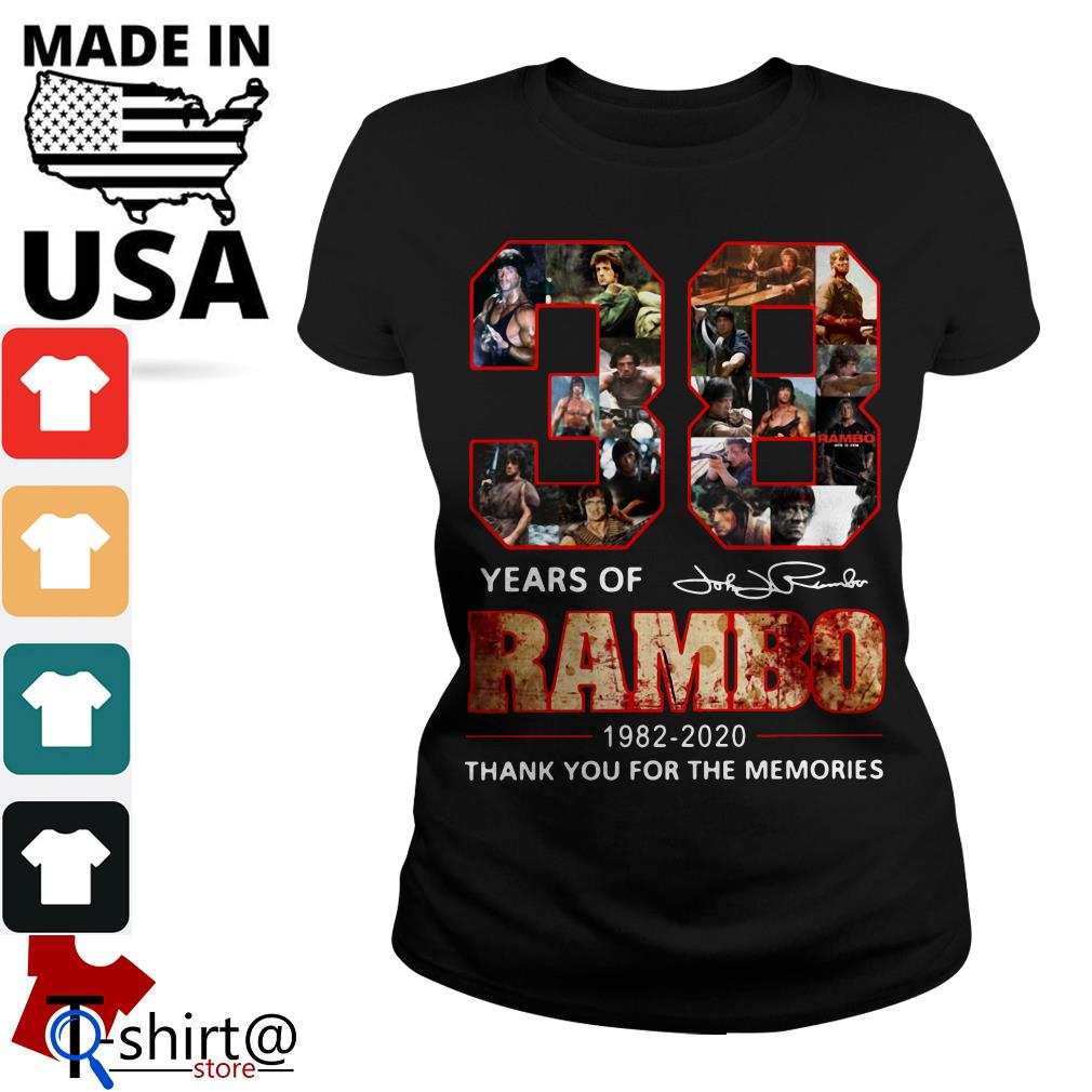Rambo 38th Anniversary 1982-2020 Signature thank You for the Memories Ladies tee