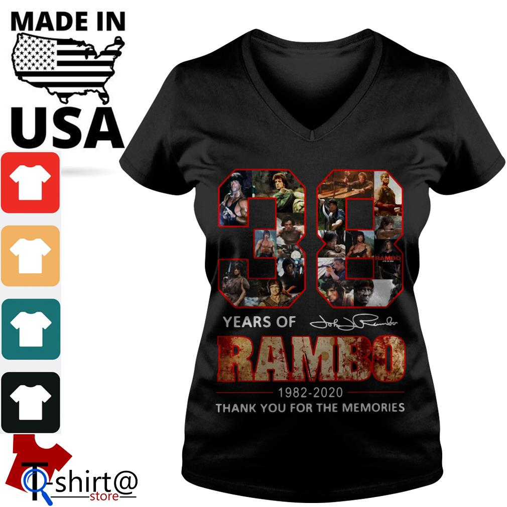 Rambo 38th Anniversary 1982-2020 Signature thank You for the Memories V-neck t-shirt