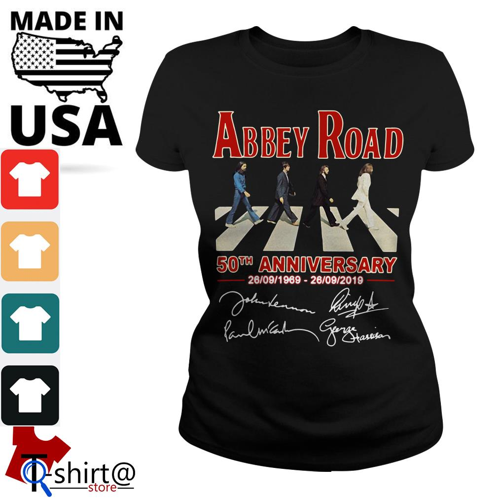 The Beatles Abbey Road 50th anniversary signatures Ladies tee