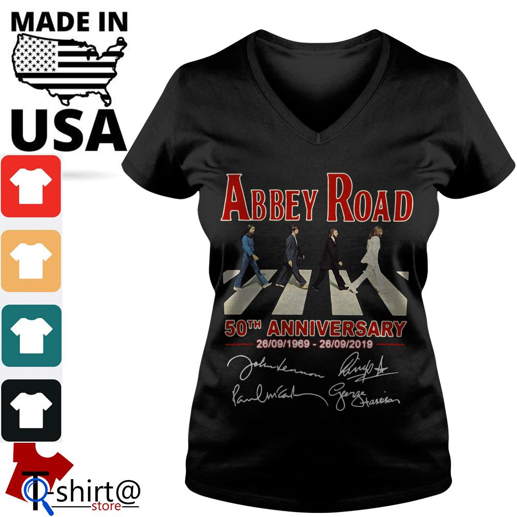 The Beatles Abbey Road 50th anniversary signatures V-neck t-shirt