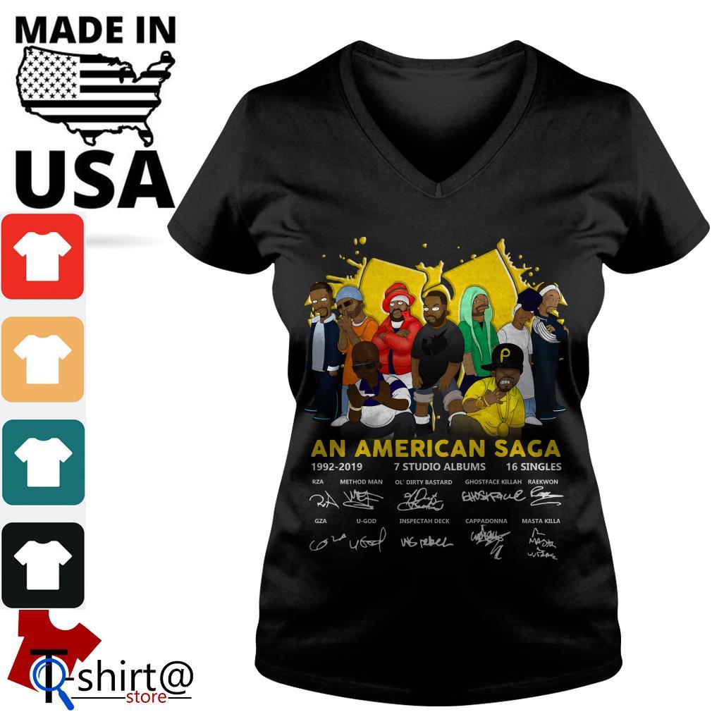 Wu Tang Clan An American Saga 1992-2019 Signatures V-neck t-shirt