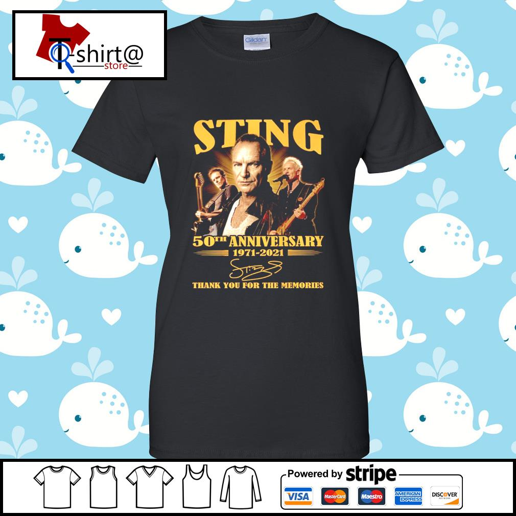 Sting 50Th anniversary 1971-2021 signature thank you for the memories s ladies tee