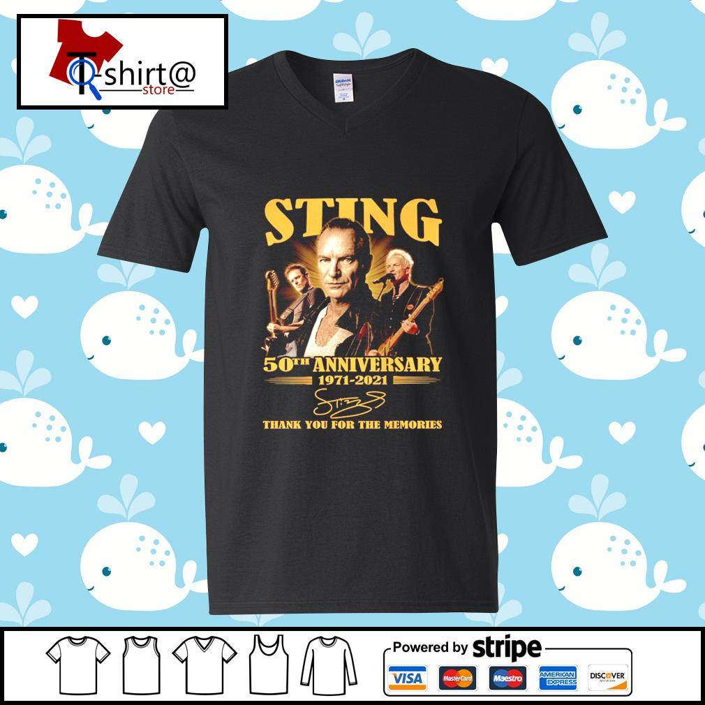 Sting 50Th anniversary 1971-2021 signature thank you for the memories s v-neck-t-shirt