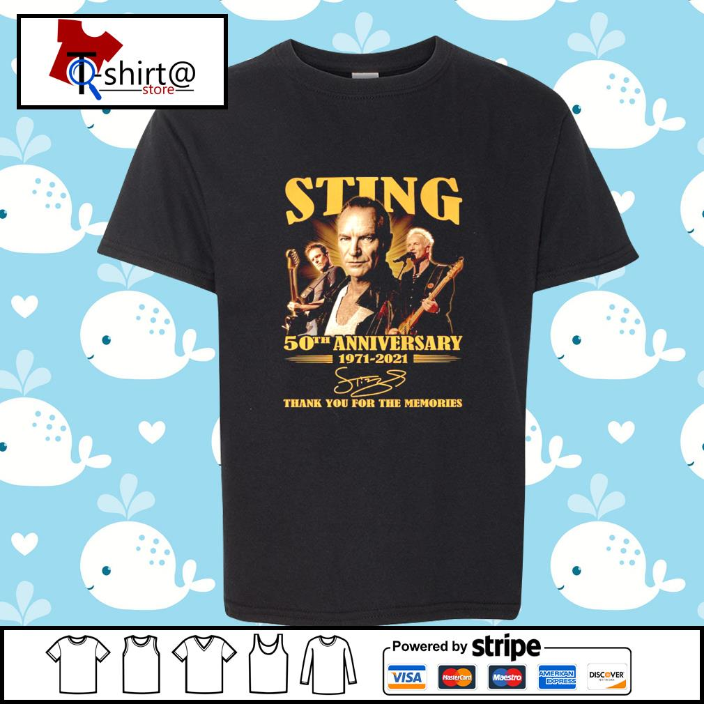 Sting 50Th anniversary 1971-2021 signature thank you for the memories s youth-tee