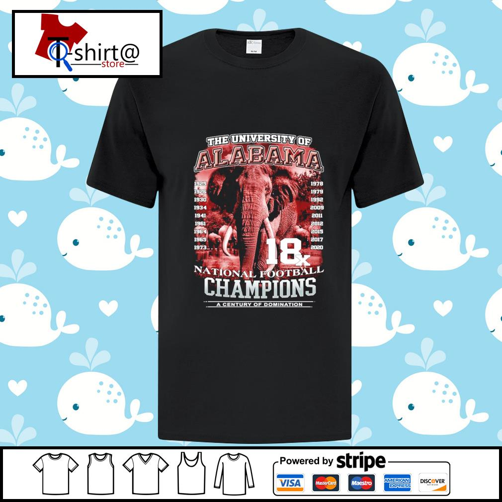The university of Alabama 1925-2020 National Football Champions A Century Of Domination shirt