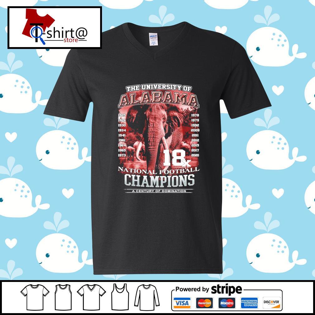 The university of Alabama 1925-2020 National Football Champions A Century Of Domination s v-neck-t-shirt