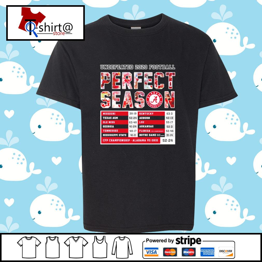 Undefeated 2020 Football Perfect Season CFP Championship Alabama 52 24 Ohio s youth-tee