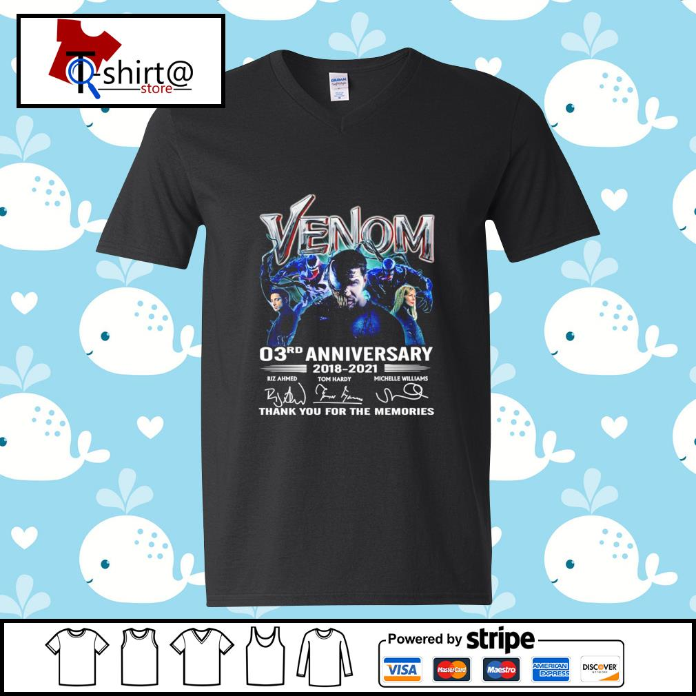 Venom 03Rd anniversary 2018-2021 signature thank you for the memories s v-neck-t-shirt