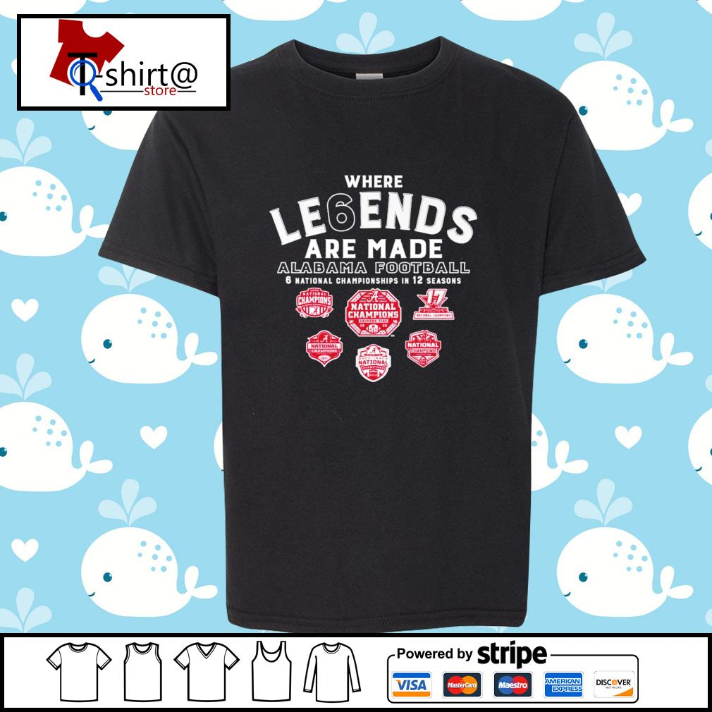 Where Le6ends are made Alabama Football 6 national championships in 12 seasons s youth-tee